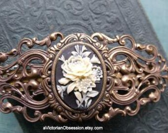 Hair Barrette Vintage Victorian style Handcrafted filigree Barrette hair clip black Cream rose cameo