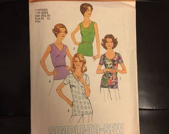 Women's sleeveless and short sleeve top cut to size 18 Simplicity 6975 1970's sewing pattern