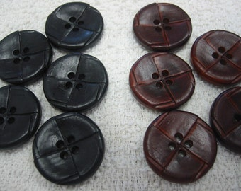 """Leather Buttons, Black or Brown 1 1/8"""" (30mm) Large Imitation leather button - Lot of 6 - your choice"""