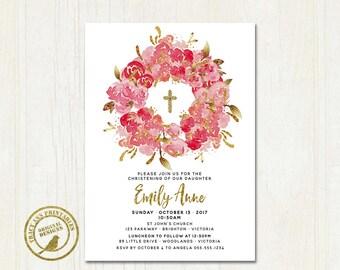 Floral Baptism Invitation, Girl Christening Invitation, Flower Invitation,  Printable, Digital, Faux glitter 1542 9017