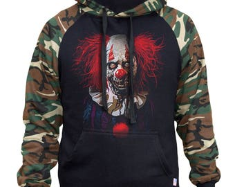 Men's Scary Zombie Clown Two Tone Hoodie Camo/Black  All size S-3XL