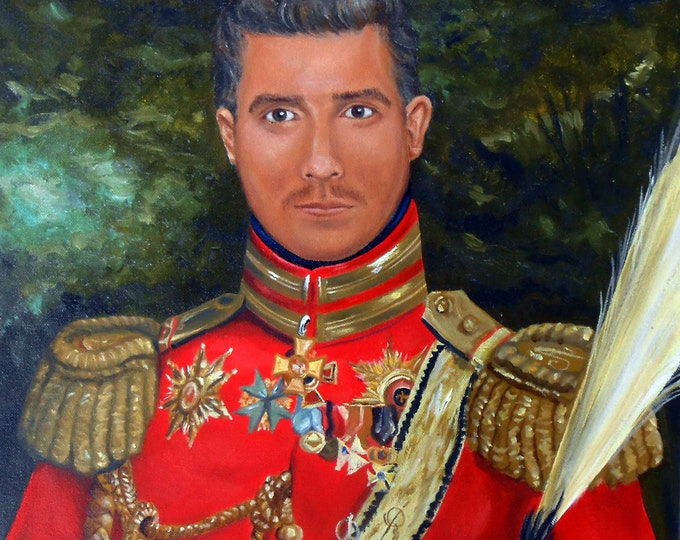 Custom Portrait Painting, Your Man in 19th Century General Uniform, Personalized from your Photos, Groomsmen Gifts