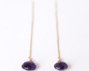 Amethyst Earrings - 14k Gold, Rose Gold or Sterling Silver - Gemstone Drop Dangle Earrings - Ear Threads - February Birthstone - Threader