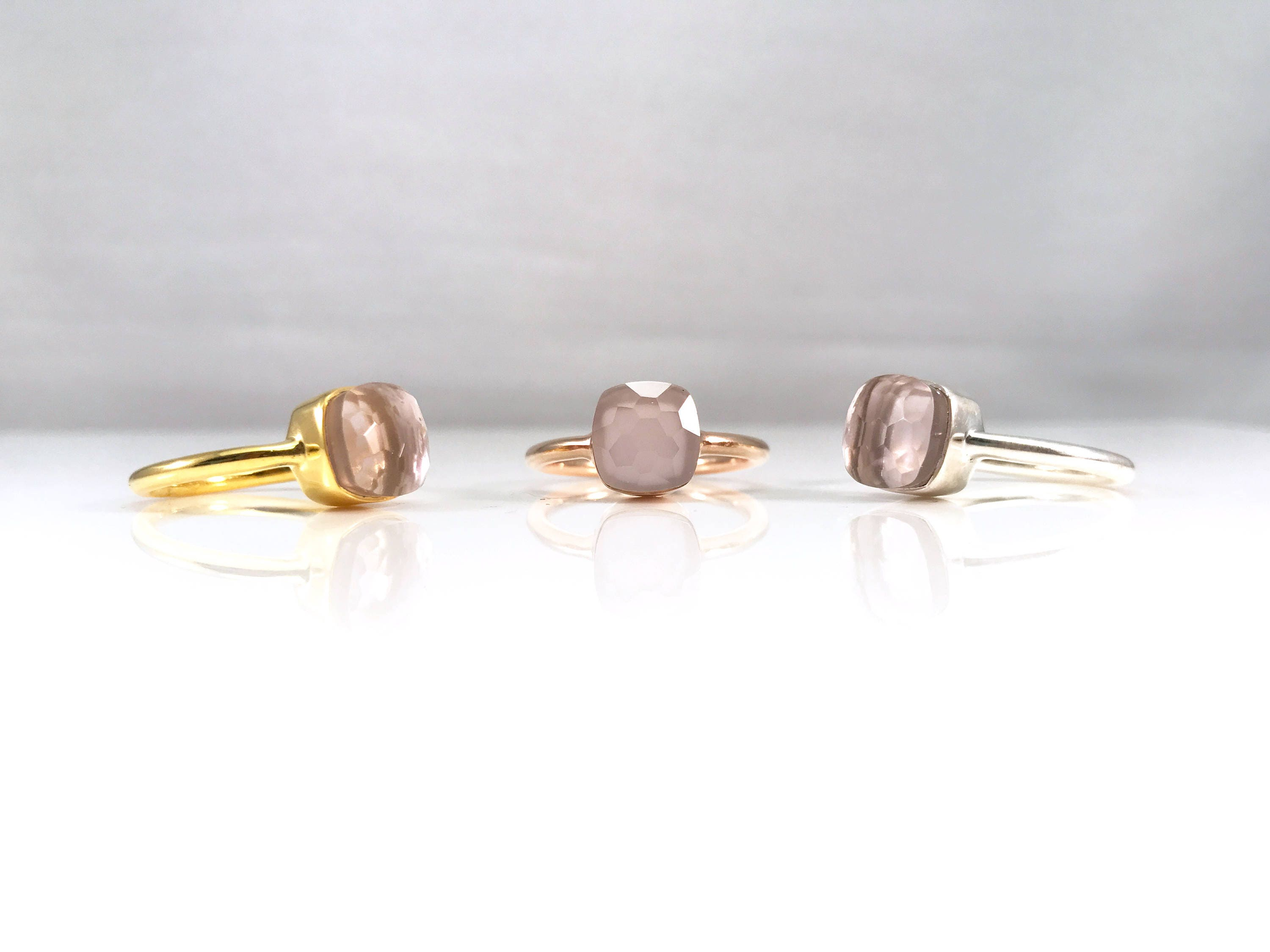 quartz jewelry by silver tangerine shop square products rose rings ring