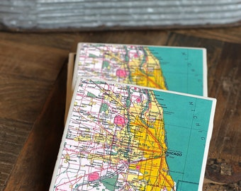 Chicago Gift / Coasters / Chicago Map / Map of Chicago / Chicago Coasters / Chicago Decor / Chicago Art / Vintage Map / Chicago Map Print