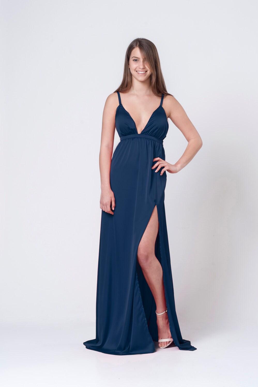 Schlitz elegantes Kleid Navy Blau Kleid Abendkleid