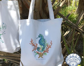 Seahorse tote bag | seahorse art | Mermaid gift | Kate McRostie | Beach gift | seahorse beach bag | market tote | Sea Spirit Trading