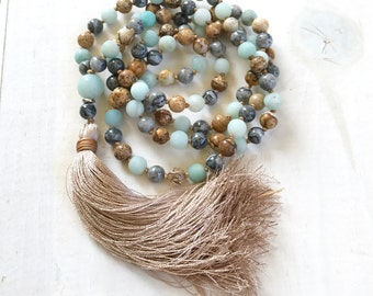 Jasper Mala Beads For Confidence, Amazonite Mala Necklace, Hand Knotted Mala Beads, 108 Bead Meditation Mala, Mixed Gemstones, Silk Tassel