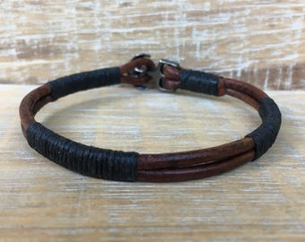 Men's Bracelet, Men's Leather Bracelet, Brown and Black Bracelet, Rugged Jewelry, Manly Bracelet, Boyfriend Gift, Son Gift, Brother Gift