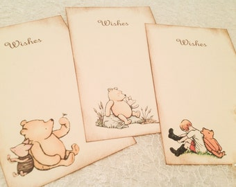 Pooh Wish Cards Tags-Winnie the Pooh Wishes for Baby- Dear Baby-Set of 12