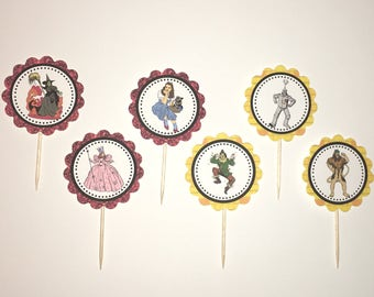 Wizard of Oz - 12 cupcake toppers