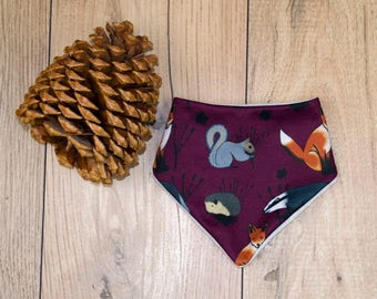 Woodland Animal Baby Bib, Bandana Bib, Dribble Bib, Accessories, Baby Gift, Animals, Baby Boy, Baby Girl, Maroon.
