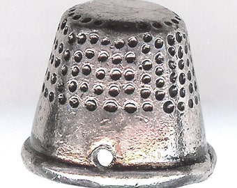 THIMBLE Charm. Silver Plated Alloy. Large 3D. ali