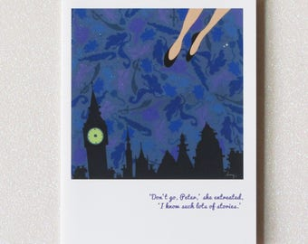 WENDY wendy loves peter pan.  and storytelling.  blank greeting card from the faerie tale feet series.