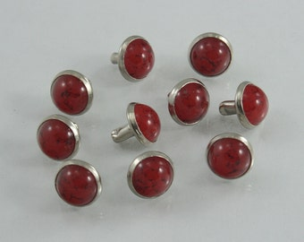 20 sets.Red Turquoise Rapid Rivets Studs Decorations Findings 9 mm. TQ RD 9 RV 23