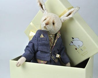 Teddy rabbit Colin vintage, in clothes, sewn from plush, OOAK