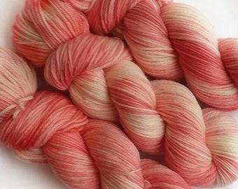 Hand dyed yarn, Flamingo, 100% super wash merino wool yarn, dk weight yarn, pink yarn, coral yarn, white yarn, tonal yarn