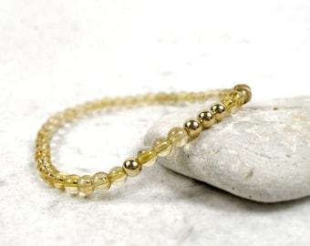 A+ Citrine Bracelet, November Birthstone, Prosperity Bracelet, 14k Gold, Solar Plexus Chakra, Sterling Silver, Stacking Bracelet, Yoga Gift