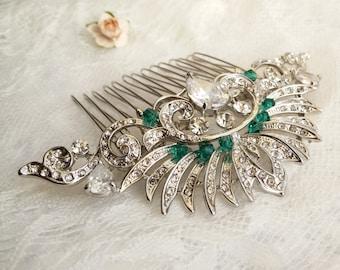Big silver crystal green Hair Comb, Bride tiara Princess emerald  Hair comb, Tiara wedding hair comb Large bridal comb, Art Deco headpiece 7