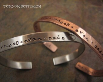 Handstamped Copper Or Nickel Silver Cuff Bracelet