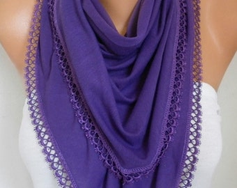 Easter Gift,Purple Combed Cotton Scarf,Spring Shawl Scarf Cowl Gift Ideas For Her Women Fashion Accessories Women Scarves