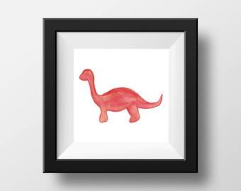 Watercolor Dinosaur (Red)