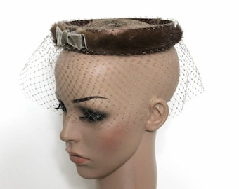 Vintage 1960s Hat - Mink over Nylon Headband with Gray Front Bow Gray Netting Fascinator Halo Hat 60s