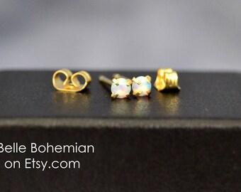 White Opal Earring  White Fire Opal  Stud Earrings  Opal Stud Earrings - Tiny Gold Studs 3mm Opal - Dainty Opal Earrings - Belle Bohemian