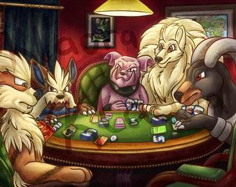 Pokemon Dogs Playing Poker Parody Print 11x17