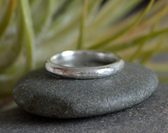 Hammered Effect Wedding Band, 3mm Diameter Rustic Wedding Ring