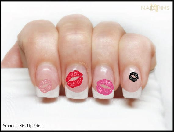 Kiss Lip Print Nail Decal Smooch Nail Wrap Nail Art Lips