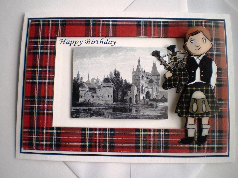 Handmade scottish piper birthday card zoom m4hsunfo