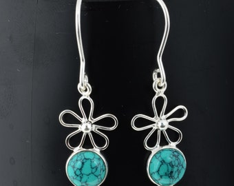 Turquoise Earring Silver Turquoise Bridal Jewelry Dangle Drop Blue Stone Earring Sterling Silver Turquoise Teardrop Earring 925 Long Earring