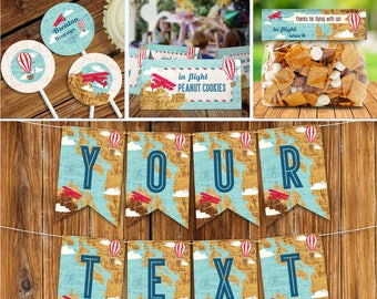 Airplane, Hot Air Balloon, Aviator Birthday Party Set, Party Decor   Editable Text - DIY Instant Download PDF Printable