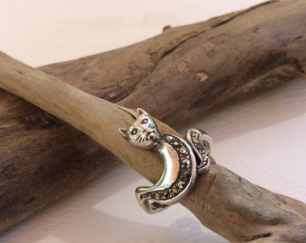 Vintage Art Nouveau Cat Sterling Silver Ring with Marcasites Size 7