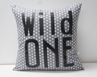 WILD ONE Pillow Cover, 20x20, Grey cross print