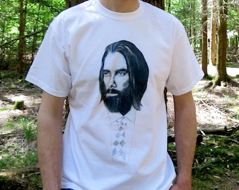 Men White Cotton T-Shirt with Hand drawn Illustration, Comfy T-Shirt