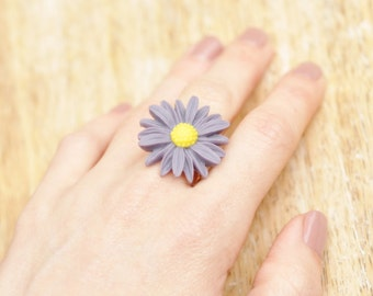Daisy Flower Antique Silver Ring