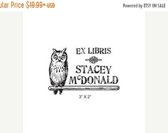 Mothers Day Sale Antique Woodcut Style Perched Owl Custom Ex Libris Bookplate Rubber Stamp K22