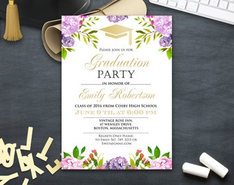 Printable invitations cards instant download diy by ameliycom girl grad invite printable college graduation invitation download graduation announcement floral lilac gold graduation stopboris Image collections