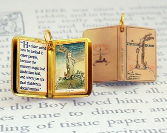 The Velveteen Rabbit by Margery Williams - Miniature Book Shaped Charm Quote Pendant - for charm bracelet or necklace. Custom available!