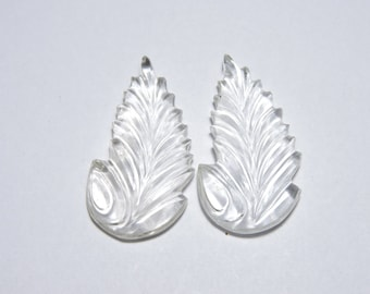2 Pieces Extremely Beautiful Natural Rock Crystal Quartz Carved Leaves Shaped Loose Gemstone Size 39X21 MM