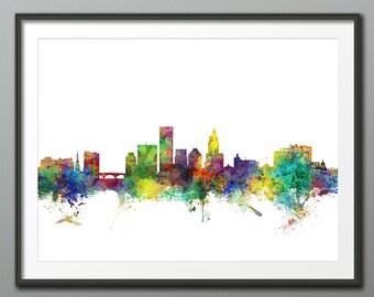 Providence Skyline, Providence Rhode Island Cityscape Art Print Poster (3970)