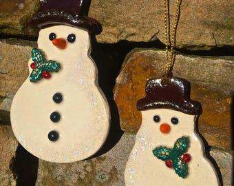 Cute Handmade Ceramic Christmas Snowman