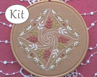 Modern embroidery kit, DIY kit, Hand embroidery pattern - flowers design - Embroidery hoop art, needlecraft kit, art nouveau decor