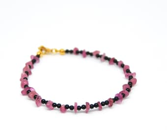 Bracelet, tourmaline, pink, onyx, black, made in Italy, gemstones, 925 sterling silver