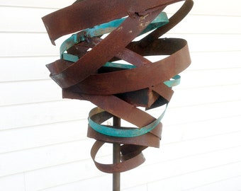 Sculptural Steel & Copper Bird Feeder No. 365 - Freestanding unique modern bird feeder