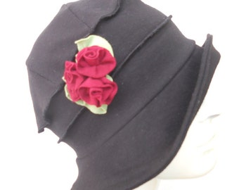 Ladies Spring Hat - Organic Cotton and Hemp Jersey - Black with Red Roses - Emma Rose