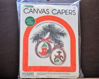 DIY Ornament Kit/Canvas Capers/Deer/Redbird/Christmas Ornaments/Christmas Tree Decorations/Needlework/Christmas Kit/1981