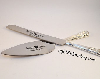 Disney Inspired Wedding! Black Engraved Wedding Cake Knife And Serving Set    Mickey Mouse Ears